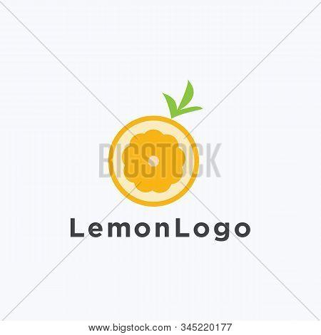 Lemon With Leaves Icon  Fresh Juice Vector Logo
