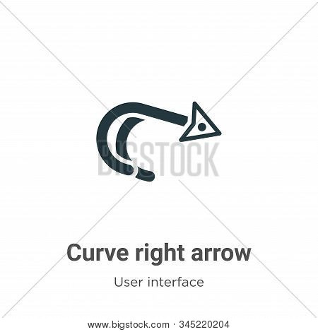 Curve right arrow icon isolated on white background from user interface collection. Curve right arro