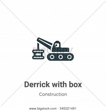 Derrick with box icon isolated on white background from construction collection. Derrick with box ic