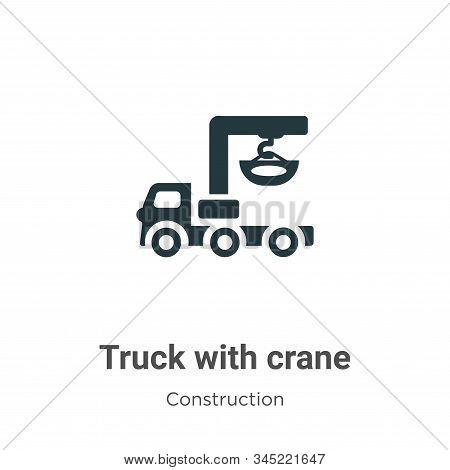 Truck with crane icon isolated on white background from construction collection. Truck with crane ic