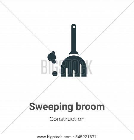 Sweeping Broom Vector Icon On White Background. Flat Vector Sweeping Broom Icon Symbol Sign From Mod