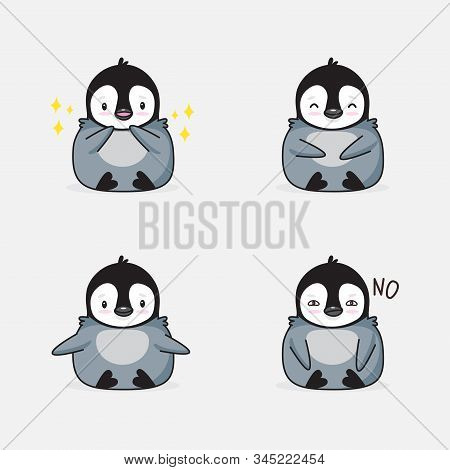 The Penguin Kawaii Stickers. Cute Cartoon Funny Kawaii Character . Can Be Used For Cards, Stickers,