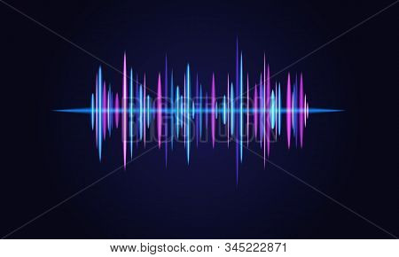 Soundwave Vector Abstract Background. Music Radio Wave. Sign Of Audio Digital Record, Vibration, Pul