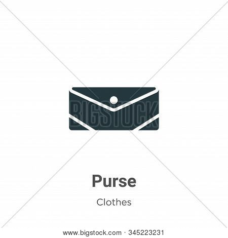 Purse Vector Icon On White Background. Flat Vector Purse Icon Symbol Sign From Modern Clothes Collec