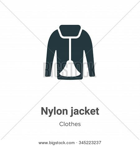 Nylon Jacket Vector Icon On White Background. Flat Vector Nylon Jacket Icon Symbol Sign From Modern