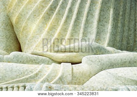 Details Of The Marble Mosaic Of Hand From A Large Buddha Statue On The Hilltop In Phuket, Thailand,