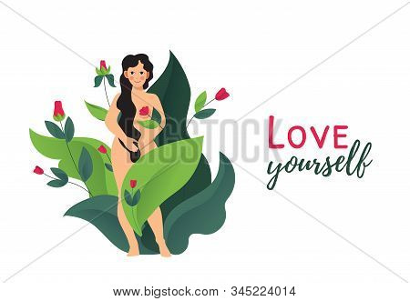 Love Yourself. Body Positive. Naked Beautiful Woman. Ovulation, Urinary Incontinence