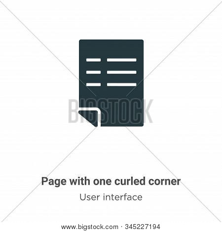 Page With One Curled Corner Vector Icon On White Background. Flat Vector Page With One Curled Corner