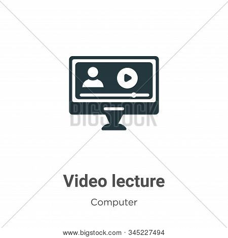 Video lecture icon isolated on white background from computer collection. Video lecture icon trendy