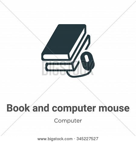 Book and computer mouse icon isolated on white background from computer collection. Book and compute