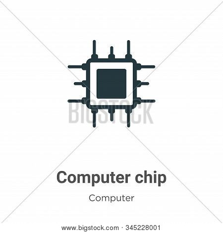 Computer chip icon isolated on white background from computer collection. Computer chip icon trendy