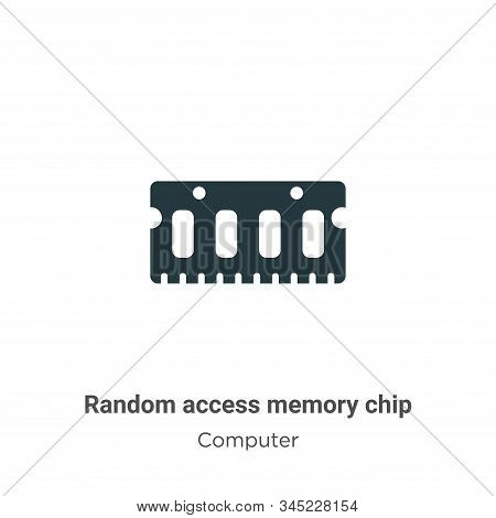 Random Access Memory Chip Vector Icon On White Background. Flat Vector Random Access Memory Chip Ico