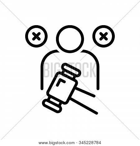Black Line Icon For Impeachment Blame Defect Flaw Fault Blemish Demonstration Justice