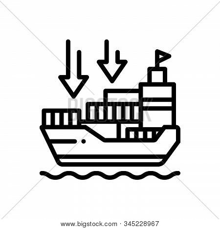 Black Line Icon For Importers Import-goods Shipping Transport Carriage Ship