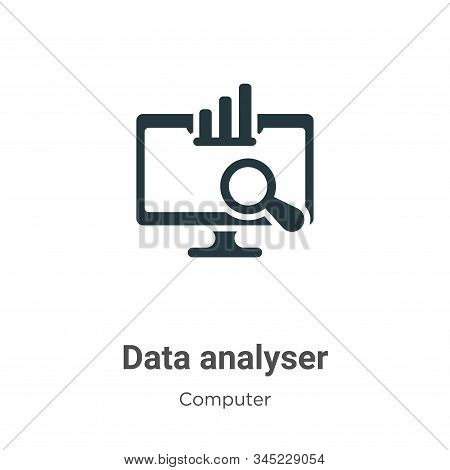 Data analyser icon isolated on white background from computer collection. Data analyser icon trendy