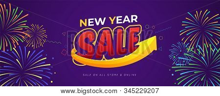 Happy New Year Sale Banner Vector Template Design