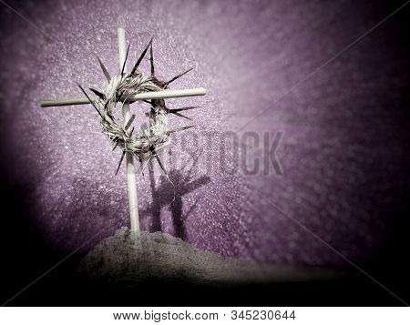 Lent Season,holy Week And Good Friday Concepts - Image Of A Woven Crown Of Thorns On Wooden Cross Wi