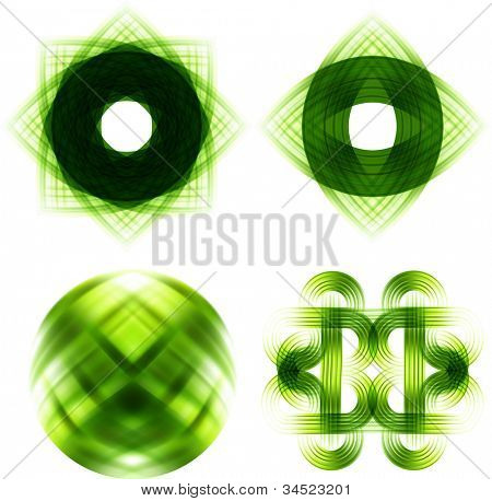 Stock Vector Illustration:   Different abstract logos and elements for design(icon). Green set