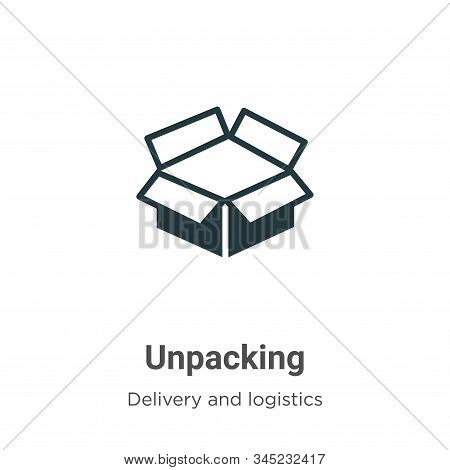 Unpacking Vector Icon On White Background. Flat Vector Unpacking Icon Symbol Sign From Modern Delive