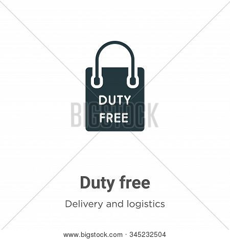Duty Free Vector Icon On White Background. Flat Vector Duty Free Icon Symbol Sign From Modern Delive