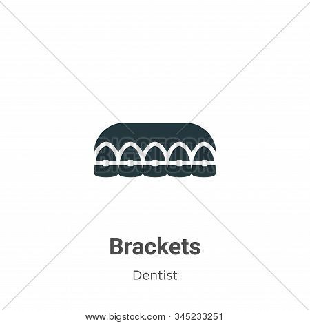 Brackets Vector Icon On White Background. Flat Vector Brackets Icon Symbol Sign From Modern Dentist