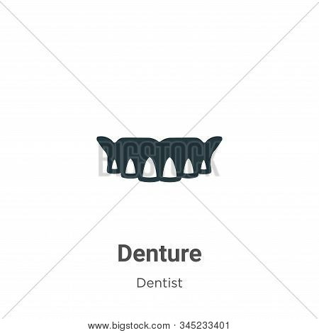 Denture Vector Icon On White Background. Flat Vector Denture Icon Symbol Sign From Modern Dentist Co