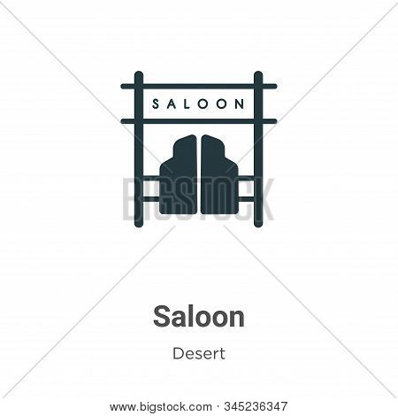 Saloon Vector Icon On White Background. Flat Vector Saloon Icon Symbol Sign From Modern Wild West Co