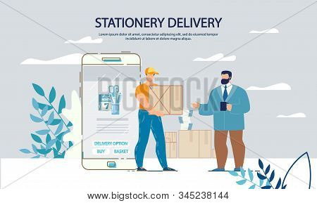 Office Appliances Stationary Buying Purchasing In Online Shop. Fast Delivery Internet Service. Smart