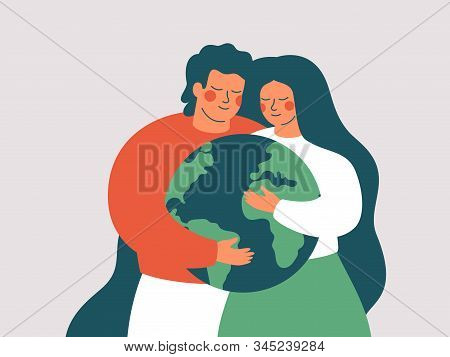 Happy Woman And Man Embrace The Green Planet Earth With Love And Care. Vector Illustration Of Earth