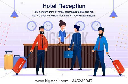 Hotel Reception Service Trendy Flat Vector Advertising Banner, Promo Poster Template. Female Recepti