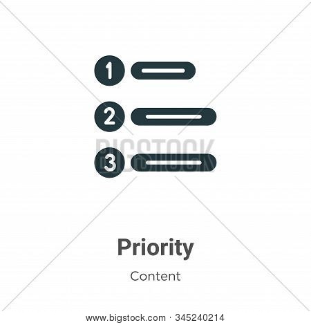 Priority icon isolated on white background from content collection. Priority icon trendy and modern