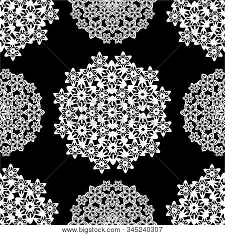 Flowers Created With Simple Shapes. Ornament Seamless Pattern.