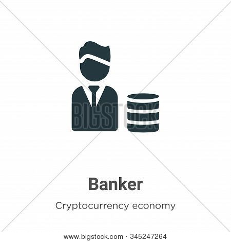 Banker icon isolated on white background from cryptocurrency economy and finance collection. Banker
