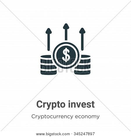 Crypto Invest Vector Icon On White Background. Flat Vector Crypto Invest Icon Symbol Sign From Moder