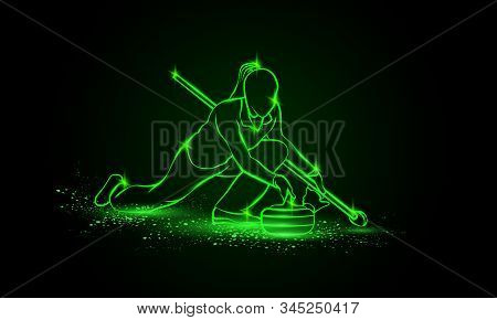 Curling Winter Sport. Girl Holds Curling Stone. Side View Vector Green Neon Curler Athlete Illustrat