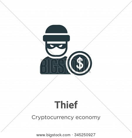 Thief Vector Icon On White Background. Flat Vector Thief Icon Symbol Sign From Modern Blockchain Col