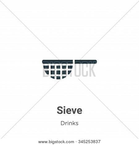 Sieve Vector Icon On White Background. Flat Vector Sieve Icon Symbol Sign From Modern Drinks Collect