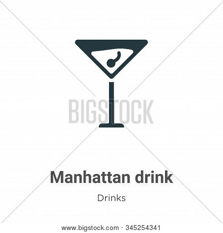 Manhattan Drink Vector Icon On White Background. Flat Vector Manhattan Drink Icon Symbol Sign From M