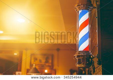 Barber Shop Pole. Logo Of The Barbershop, Symbol. Barbershop Pole, Retro. Copy Space