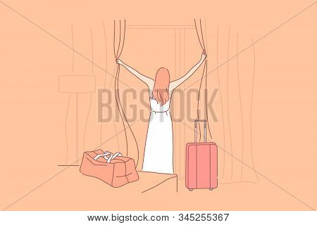 Vacation, Hotel, Arrival, Tourism Concept. Young Girl Spent Wonderful Time On Vacation And Arrived H