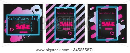 Valentine's Day is a proposal, a collection of neon-style banner templates. Set neon signs, posters for shop design, colorful banner, neon advertising, flyers, leaflets, brochures. Set discont banners for Valentines day neon. Neon color Vector Valentines