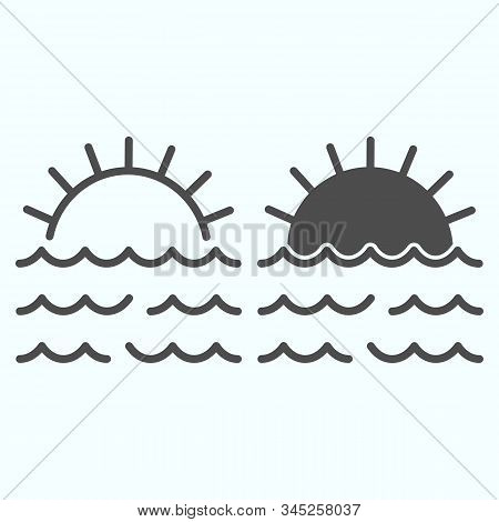 Sunset Line And Solid Icon. Sunset And Sea Waves Illustration Isolated On White. Marine Sunset Outli
