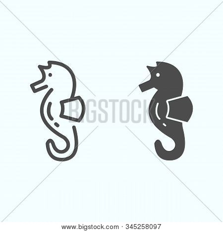 Sea Horse Line And Solid Icon. Sea Animal Hippocampus Illustration Isolated On White. Hippocampus Ou
