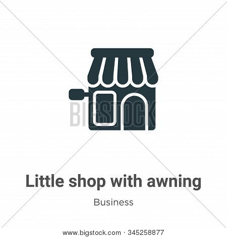 Little shop with awning icon isolated on white background from business collection. Little shop with