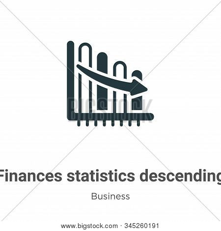 Finances Statistics Descending Bars Graphic Vector Icon On White Background. Flat Vector Finances St