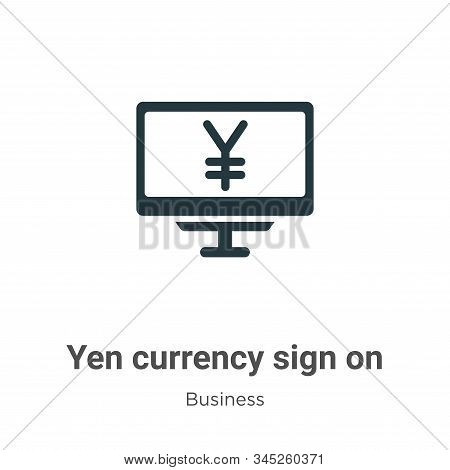 Yen currency sign on monitor screen vector icon isolated on white background from modern business co
