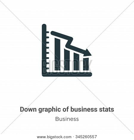 Down graphic of business stats icon isolated on white background from business collection. Down grap