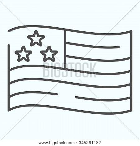 Usa Flag Thin Line Icon. American Flag Vector Illustration Isolated On White. United States Symbol O
