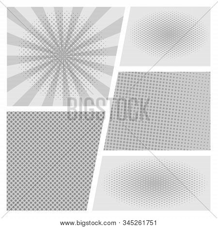 Comic Page Frame. Black And White Funny Superhero Comics Book Empty Pages With Stripes Background Ve