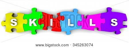 Skills. Composed Word From Puzzles. The Word Skills Made Up Of Multi-colored Puzzle Elements. Isolat